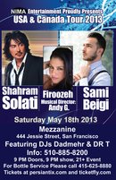 Shahram Solati, Firoozeh &amp; Sami Beigi Live In SF